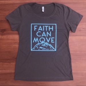 Faith Can Move Mountains Fitted Graphic Tee - XL